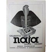 L'IIlustration French Magazine Original  NAJA Cigarettes 1937 Advertisement