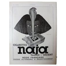 L'IIlustration French Magazine Original  NAJA Cigarettes 1937 Advertisement