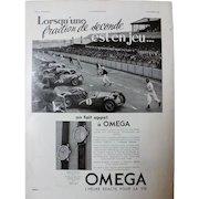 L'IIlustration French Magazine Original  OMEGA Motor Racing 1937 Advertisement
