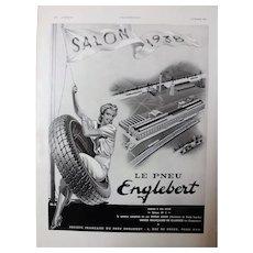 L'IIlustration French Magazine Original  ENGLEBERT TYRES 1937 Advertisement