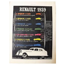 L'IIlustration French Magazine Original  RENAULT 1938 Advertisement