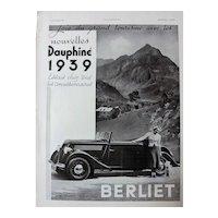 L'IIlustration French Magazine Original  BERLIET DAUPHINE 1938 Advertisement