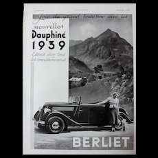 L'IIlustration French Magazine Original  BERLIET DAUPHINE 1938 Advertisement