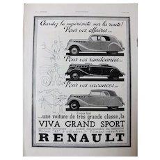 L'IIlustration French Magazine Original  RENAULT 1938 Advertisement