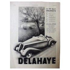 L'IIlustration French Magazine Original  DELAHAYE 135 SPORT 1937 Advertisement
