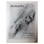 BUGATTI Original Art Deco Advert From L'Ilustration Magazine 1937