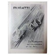 BUGATTI Original Art Deco Advert From L'Ilustration Magazine 1937