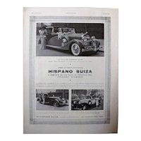 HISPANO SUIZA  Art Deco Advertisement from the French Magazine L' Illustration 1937