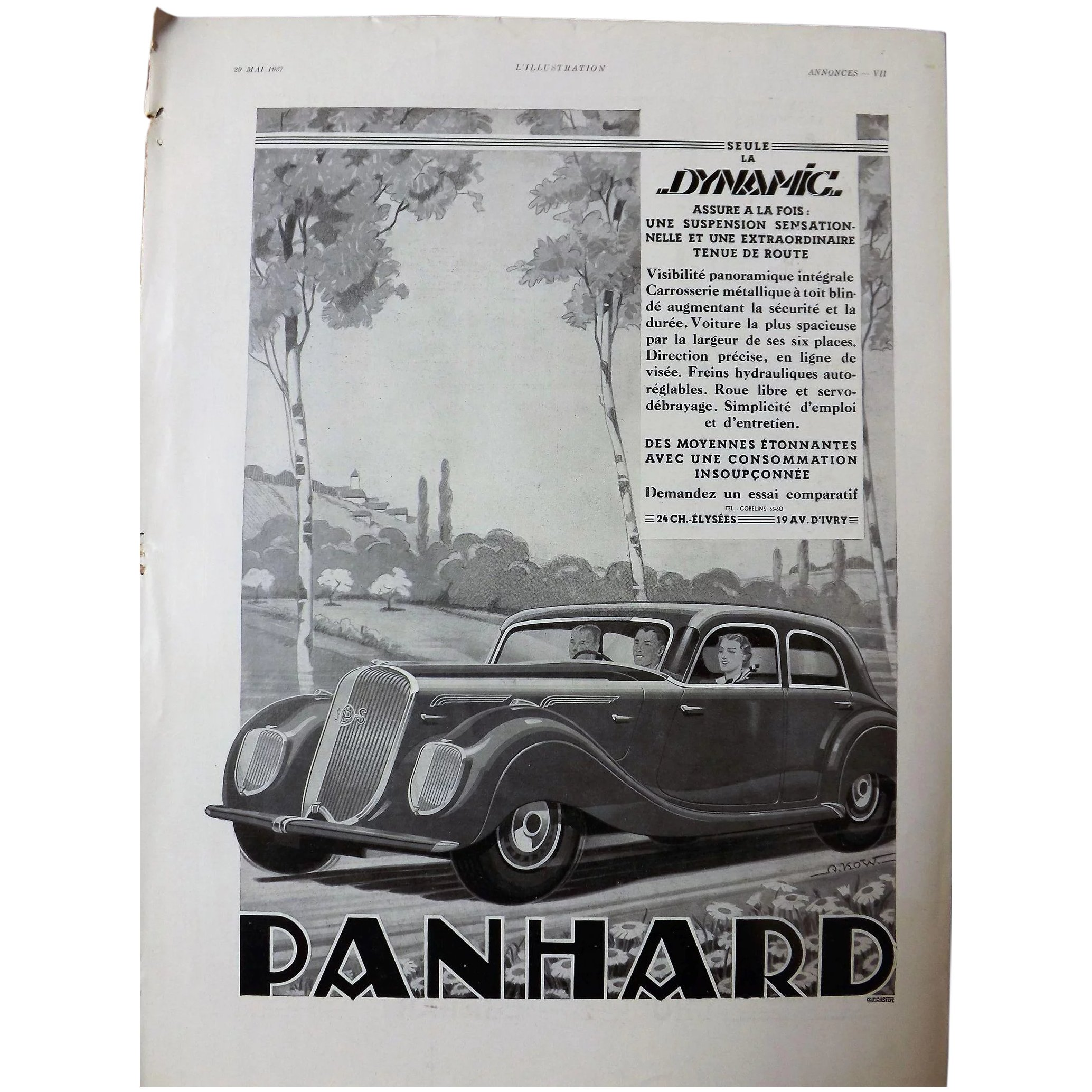 PANHARD Art Deco Advertisement from the French Magazine L' Illustration 1937