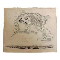 """An Original Atlas Map of TOULON circa 1840 Published By """"The Society For The Diffusion of Useful Knowledge"""""""