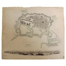"An Original Atlas Map of TOULON circa 1840 Published By ""The Society For The Diffusion of Useful Knowledge"""