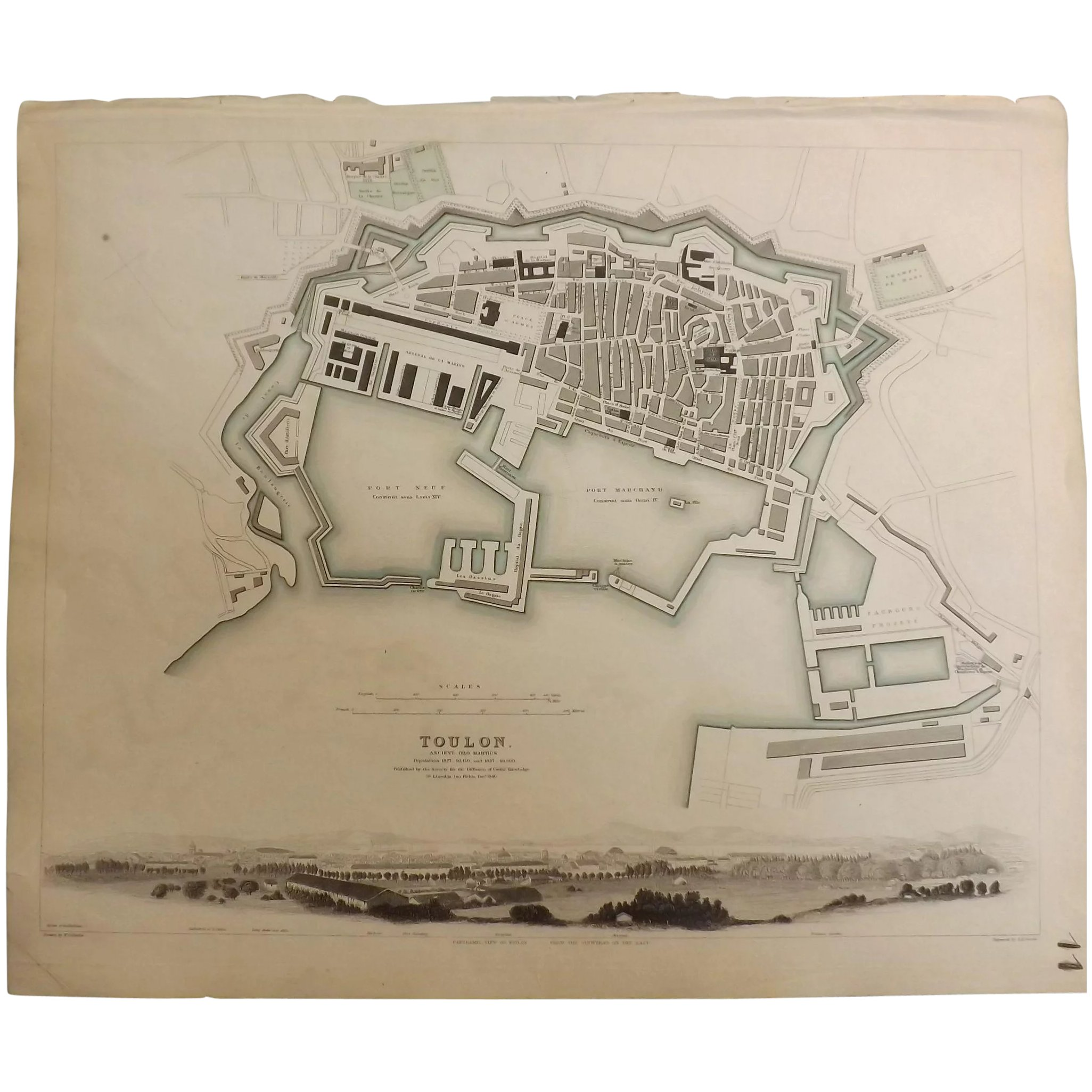 An Original Atlas Map of TOULON circa 1840 Published By