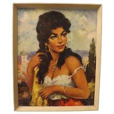 """Gorgeous Mid Century """" Topino"""" Print - Gypsy Girl"""