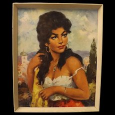 "Gorgeous Mid Century "" Topino"" Print - Gypsy Girl"