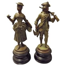 A Pair Of Cold Painted Spelter Figurines Circa Early 1900's