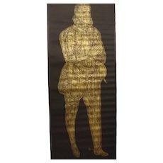 Brass Rubbing of a KNIGHT - From Great St. Marys Church - Sawbridgeworth - Hertfordshire -  England