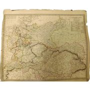 """Original ATLAS MAP of Germany Circa 1840 Published By """"The Society for the Diffusion of Useful Knowledge"""""""