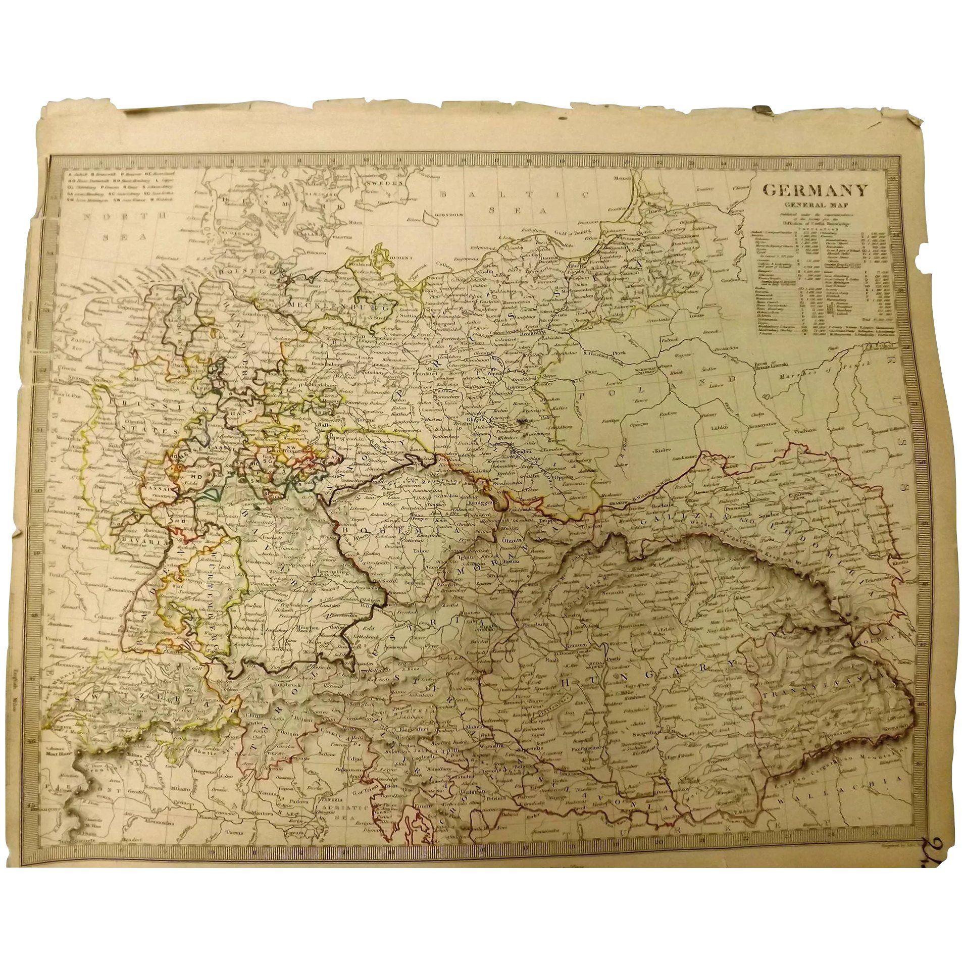 Original ATLAS MAP of Germany Circa 1840 Published By
