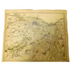 "Original Map of The Environs of EDINBURGH Circa 1835 Published By ""The Society for the Diffusion of Useful Knowledge"""