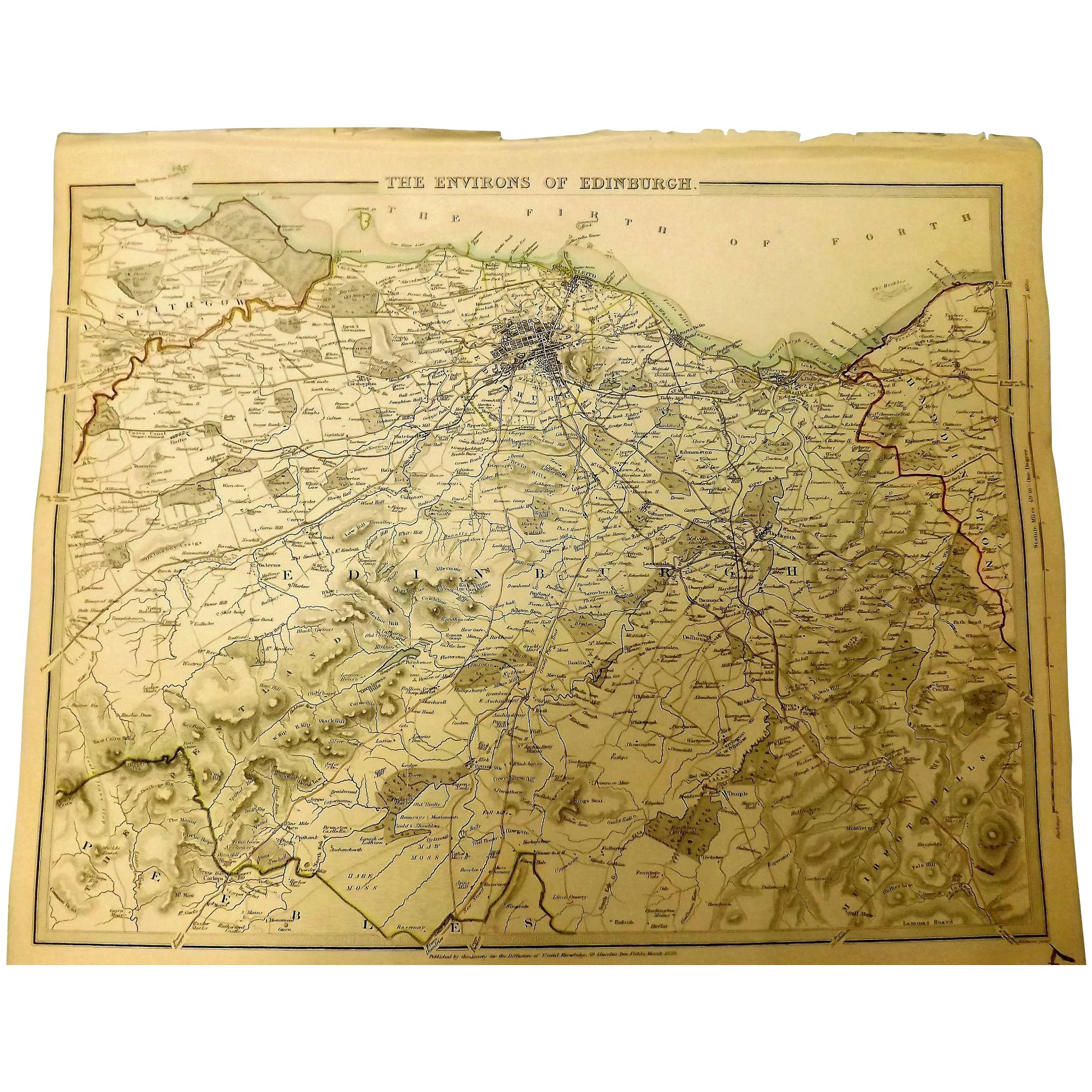 Original Map of The Environs of EDINBURGH Circa 1835 Published By