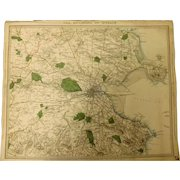 """An Original Atlas Map of The Environs of DUBLIN  Circa 1837 Published By """"The Society For The Diffusion of Useful Knowledge"""""""