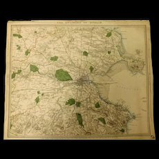 "An Original Atlas Map of The Environs of DUBLIN  Circa 1837 Published By ""The Society For The Diffusion of Useful Knowledge"""