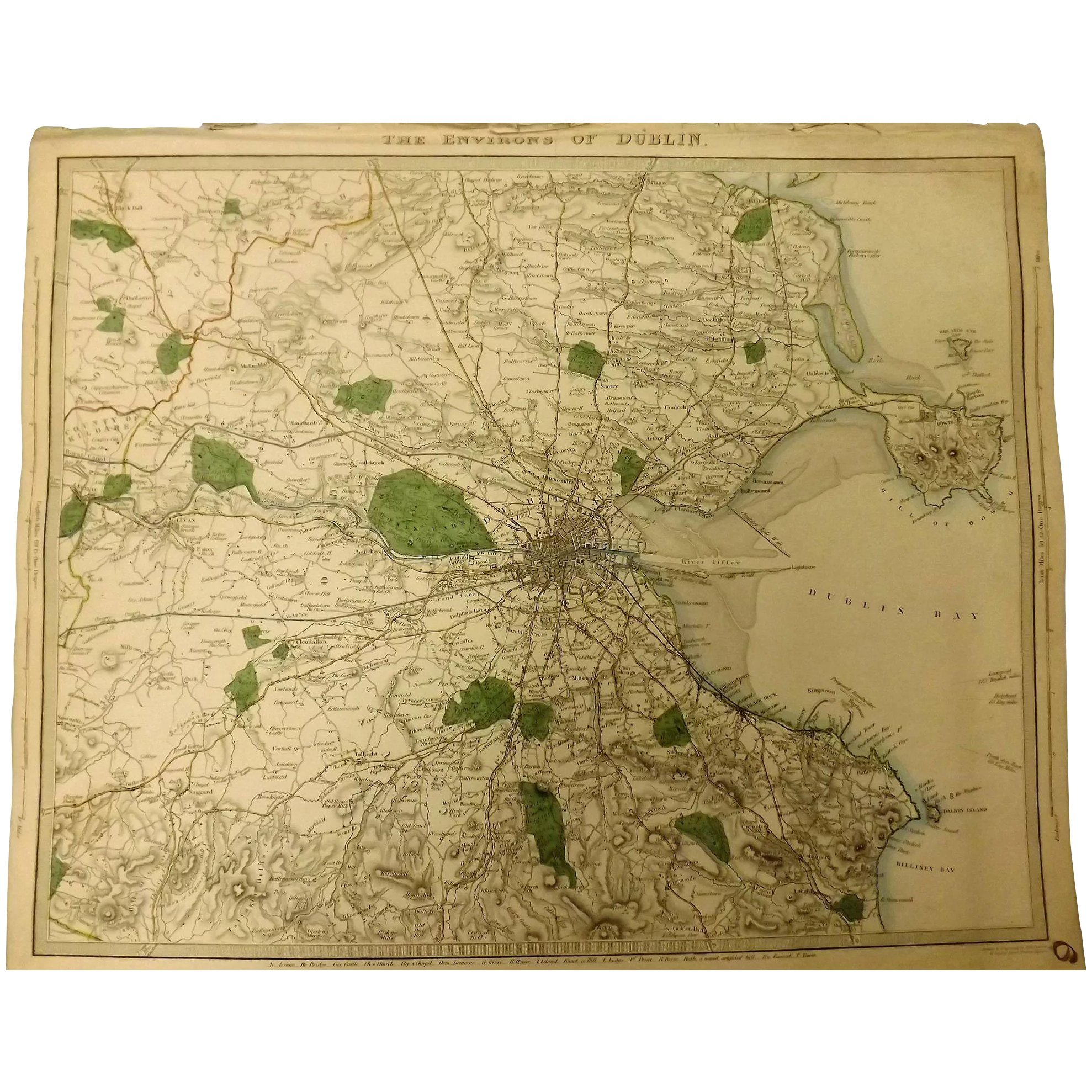 An Original Atlas Map of The Environs of DUBLIN Circa 1837 Published By