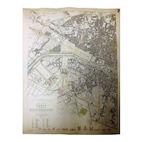 """Two Original Atlas Maps of PARIS Circa 1834 Published By """"The Society For The Diffusion of Useful Knowledge"""""""