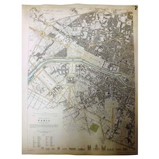 "Two Original Atlas Maps of PARIS Circa 1834 Published By ""The Society For The Diffusion of Useful Knowledge"""