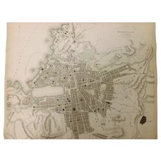 "An Original Atlas Map of  MARSEILLE Circa 1840 Published By ""The Society For The Diffusion of Useful Knowledge"""