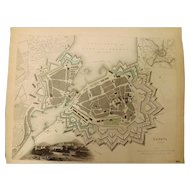 """An Original Atlas Map of GENEVA Circa 1841 Published By """"The Society For The Diffusion of Useful Knowledge"""""""