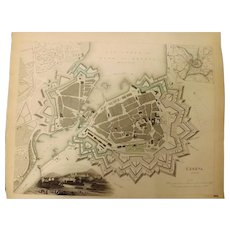 "An Original Atlas Map of GENEVA Circa 1841 Published By ""The Society For The Diffusion of Useful Knowledge"""