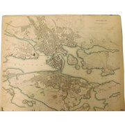 """An Original Atlas Map of  STOCKHOLM Circa 1836 Published By """"The Society For The Diffusion of Useful Knowledge"""""""
