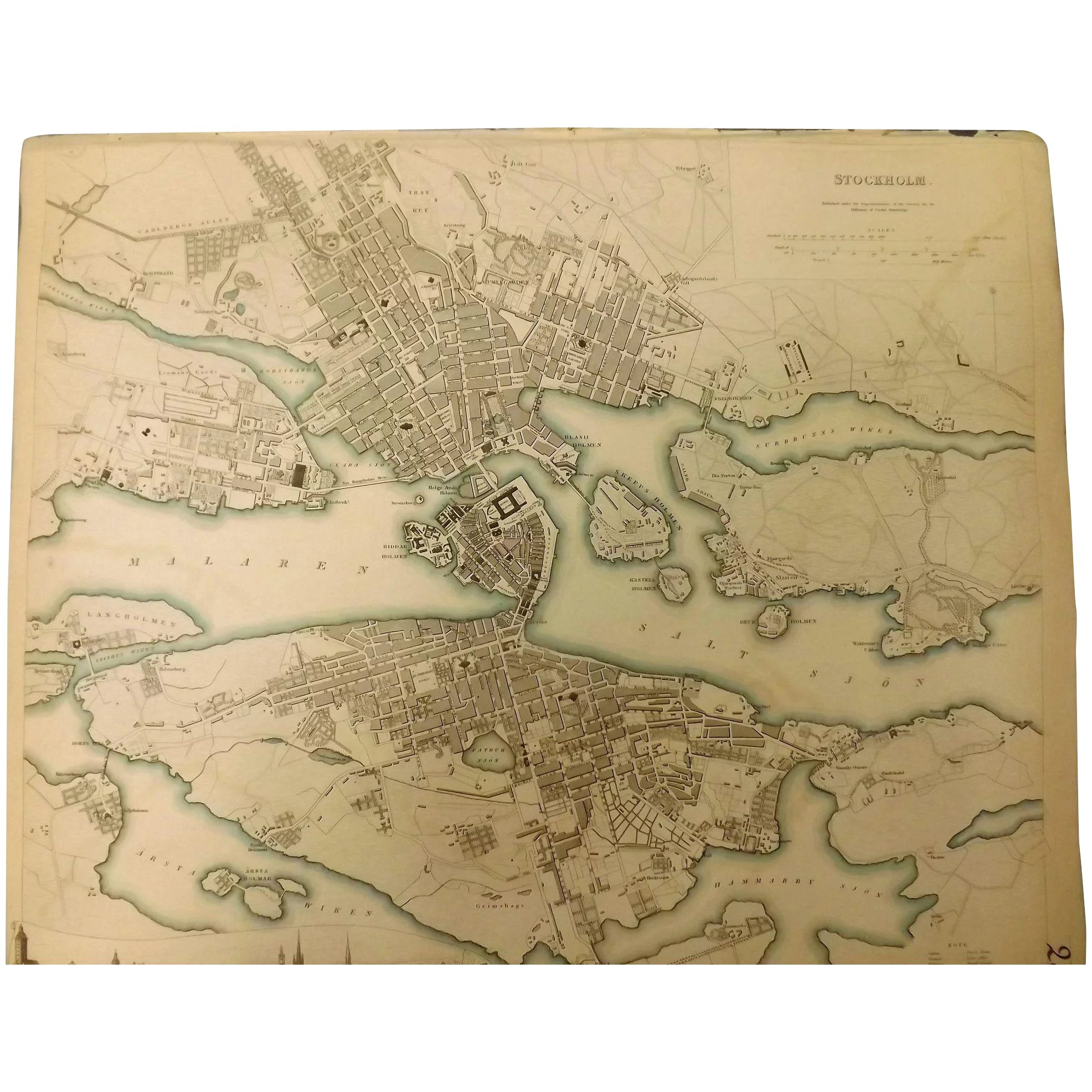 An Original Atlas Map of STOCKHOLM Circa 1836 Published By