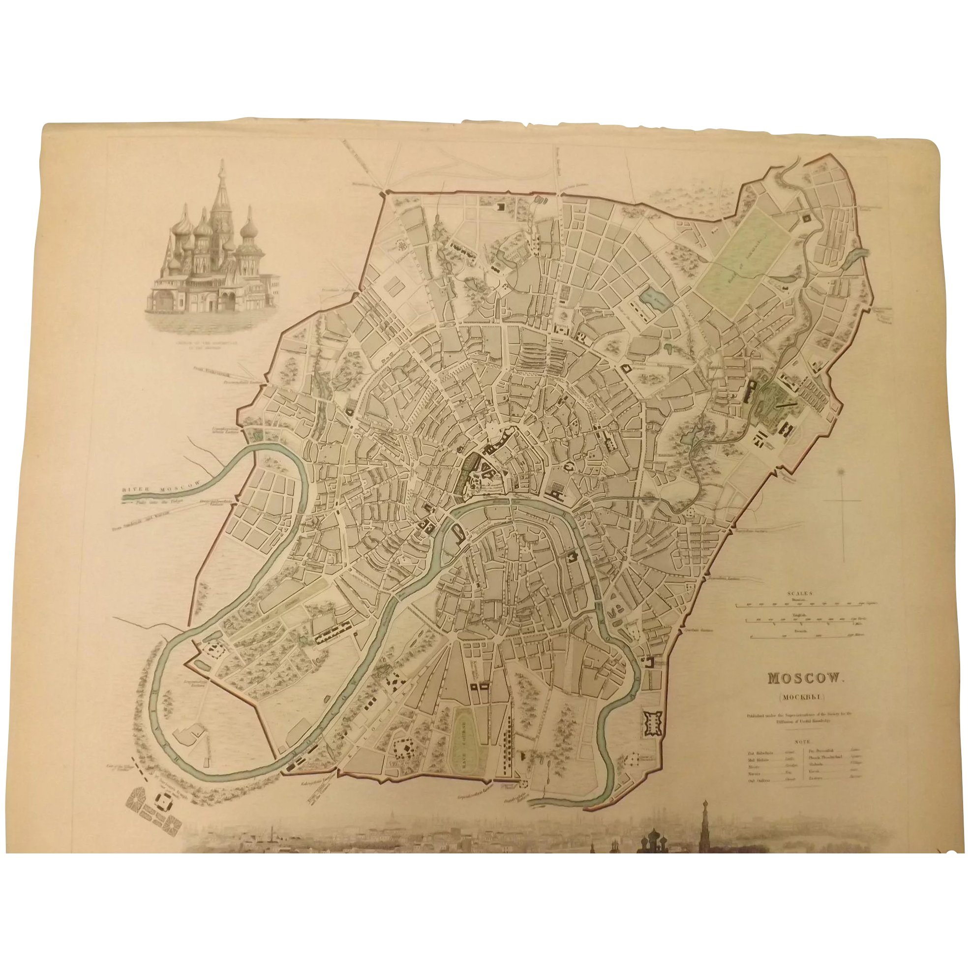 An Original Atlas Map of MOSCOW Published By