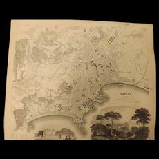 "An Original Atlas Map of  NAPLES circa 1835 Published By ""The Society For The Diffusion of Useful Knowledge"""