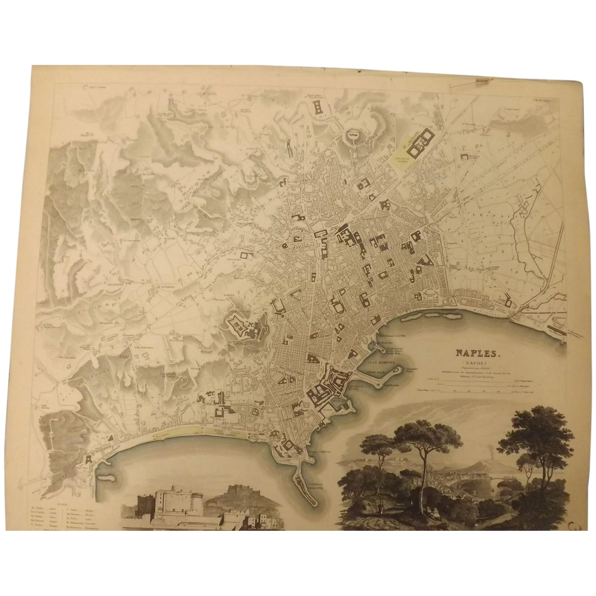 An Original Atlas Map of NAPLES circa 1835 Published By