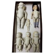 Six Bisque Porcelain Jointed Dolls - Germany 19th century