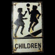 Genuine English Mid Century Cast Iron School Crossing Sign