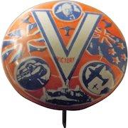 Winston Churchill Victory Tin Badge  WWII - Great Britain & New Zealand