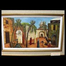 'BISKARA' Algeria -Oil on Board By Hartvig Jarlhov -Sweden Circa 1950-60