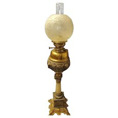 A Superb Victorian IMPROVED BELGE Table Oil Lamp - Circa 1895-1900