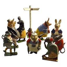 TEN Cadbury COCOCUBS Lead Farm Animal Figures - Circa 1930's