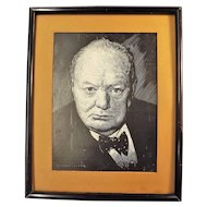 A Photolithographic Print Of Winston Churchill By  New Zealand Artist R.S. Clark  1940's
