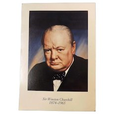 Winston Churchill Postcard + Unionist Assoc Ticket + Pewter  Churchill Bust Key Ring