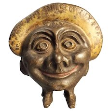 SAVE & SMILE Cast Iron Money Bank Circa 1930's