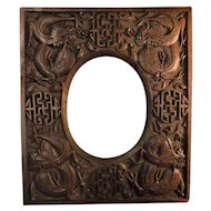 Late Qing Dynasty Chinese Hand Carved Dragon Photo Frame