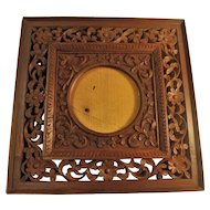 Late Qing Dynasty Chinese Hand Carved Floral Photo Frame