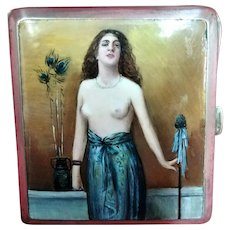 German Nickel Silver & Enamel Nude Cigarette Case