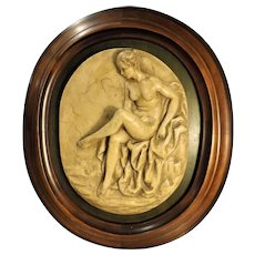 "Fabulous Large Italian ""Honey Alabaster"" Nude Wall Plaque"